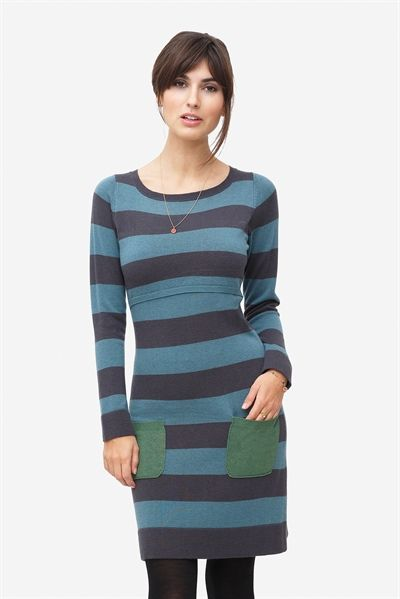 Blue striped nursing dress with green pockets