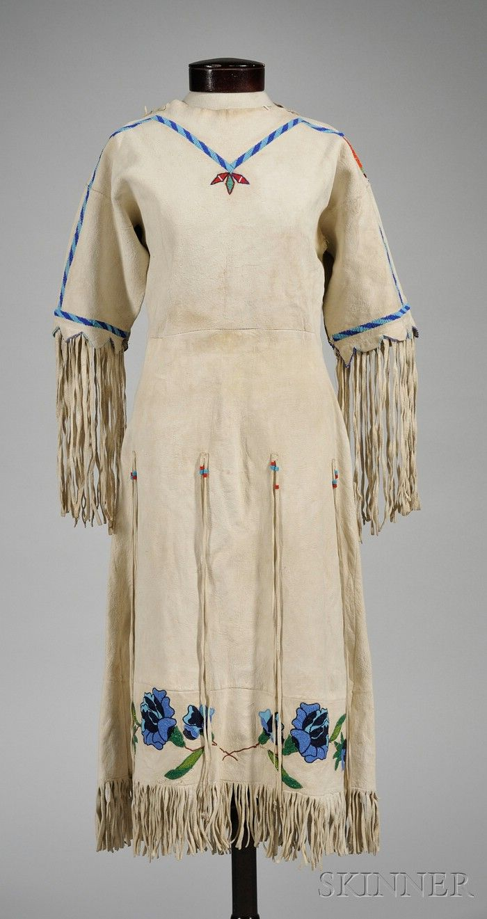 Native American Plains beaded hide floral decorated dress. Historic Lammers Trading Post, established 1917 in Hardin, Montana.