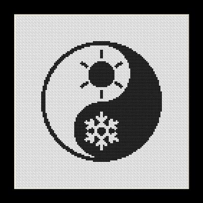Black and White Yin Yang Summer Winter Counted Cross Stitch Pattern in PDF for…
