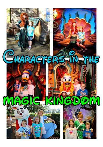 Here's a list of the characters you can meet in the Magic Kingdom. This list includes who, where they will be, and the times.