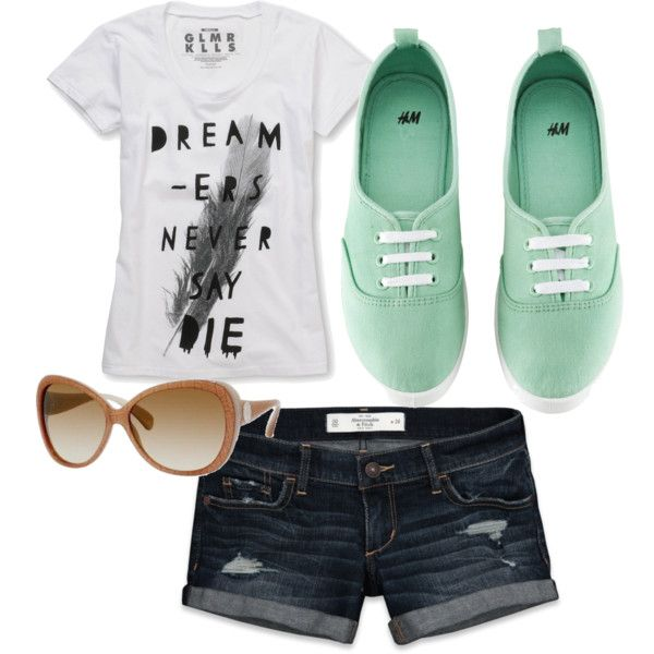 Casual summer outfit. love the shorts and mint shoes.