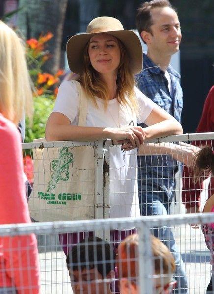 Emily Blunt was seen with husband John Krasinski and daughter Hazel Krasinski at the weekly farmers market in Studio City in Los Angeles, California on May 22, 2016.