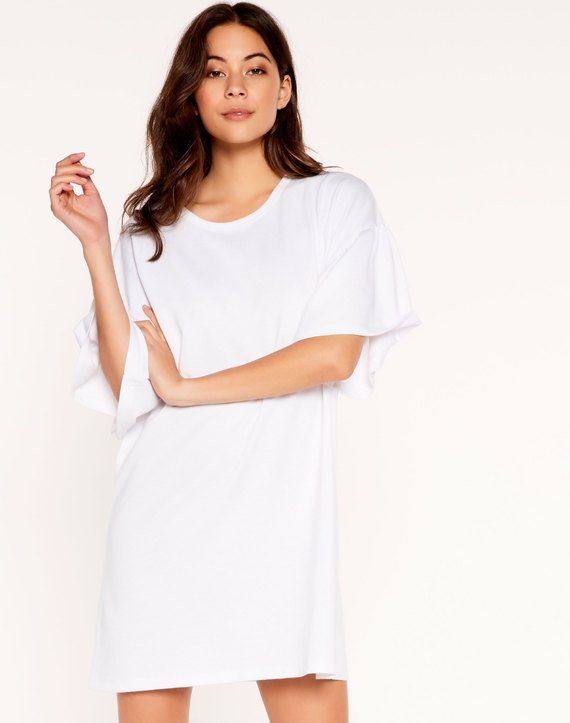 Frill Sleeve Dress White