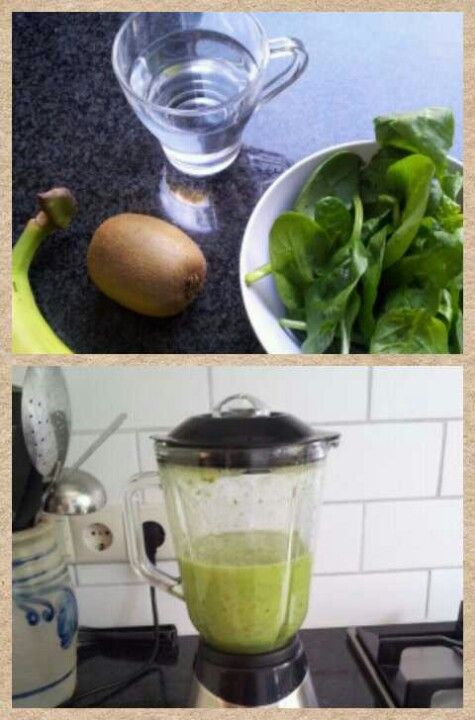 1 kiwi, 1 banaan, spinazie en 1 glas water #heerlijk