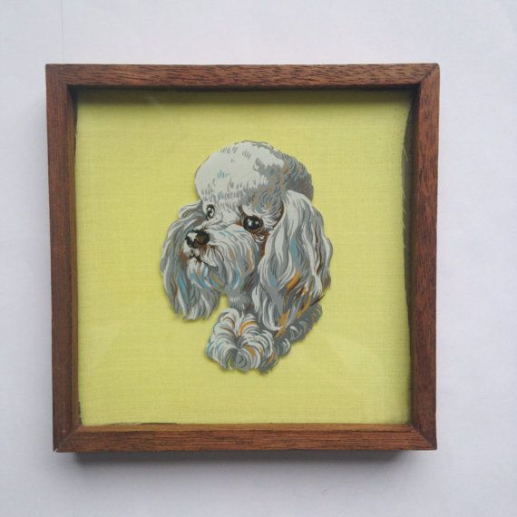 Vintage midcentury framed painting of a poodle dog on glass  - in wooden oak frame by GalabeerandtheDog, on Etsy