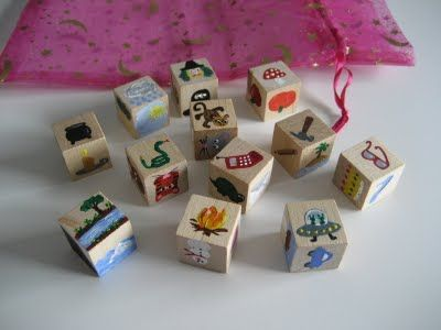 Story dice- roll, then make up a story about what you see. I would use stickers because there is no way I could paint those pictures.