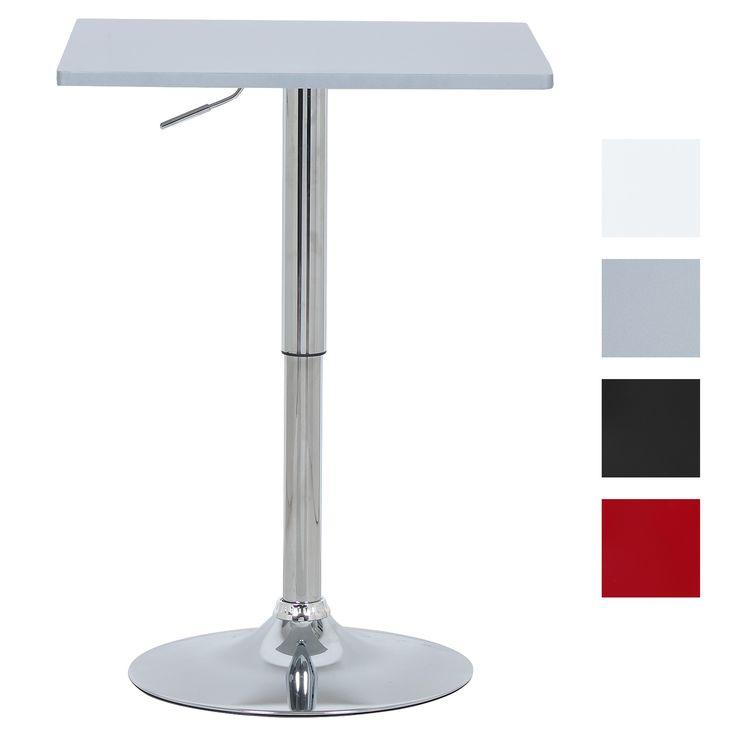 WOLTU BT03sb Bartisch Bistrotisch , Partytisch , Design Tisch mit Trompetenfuß , drehbare Tischplatte aus robustem MDF , höhenverstellbar , Dekor , Silber | Woltu