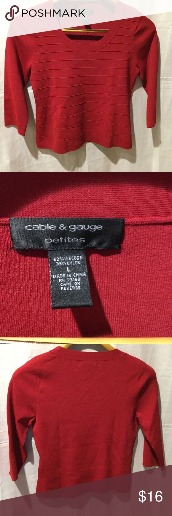 Cable & Gauge Petites Shirt Type:	Shirt Brand:	Cable & Gauge Size Type:	Petite Women's Size:Large  Season:	Spring - Summer, Fall - Winter Colors:Red                                                         This item have been worn but has no visible signs of wear in Excellent Condition. Cable & Gauge Petites Tops Tees - Long Sleeve