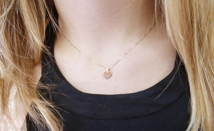 14k gold necklace. Initial pendant. Letter charm necklace. Personalized necklace. Gold pendant necklace. initial necklace. Heart initial