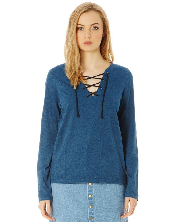 Cotton Marle Lace Up Top
