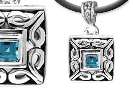 Silver Pendant with Blue Topaz Stone. Bali Collection