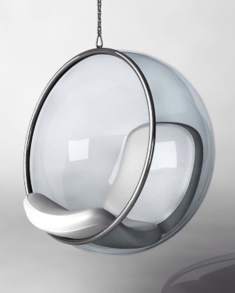 the famous 'bubble chair' | eero aarnio | 1968 (with silver leather cushion – the original version was much softer and better in shape and details... search another pict ,-)