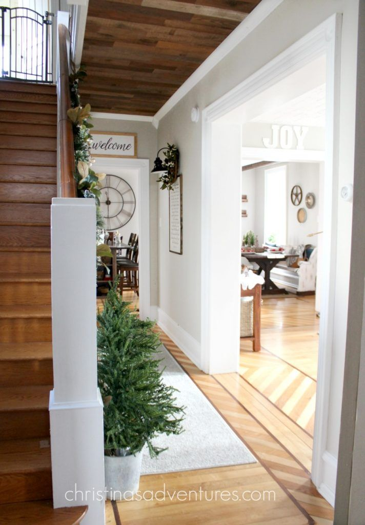Stunning farmhouse Christmas hallway decorating - the whole house tour is beautiful