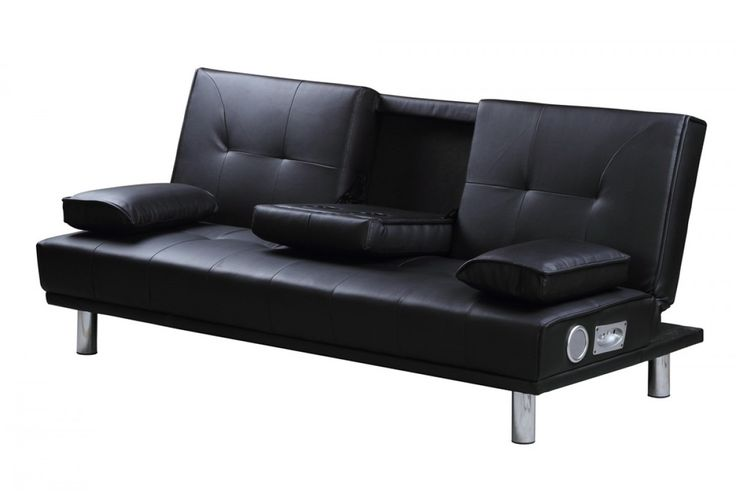 Leather Sectional Sofa Manhattan Built In Bluetooth Speakers Black Faux Leather Sofa Bed Perfect house Pinterest Faux leather sofa Leather sofa bed and Bluetooth speakers