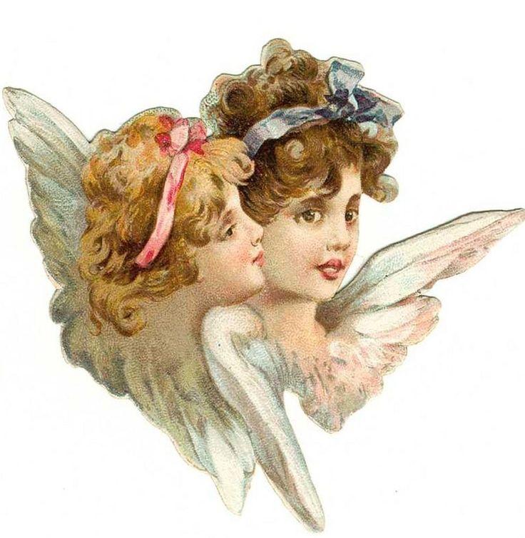 Яркой, рисунок винтажные ангелы