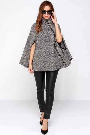 Cute Cape - Herringbone Cape - Black and Ivory Cape - $86.00
