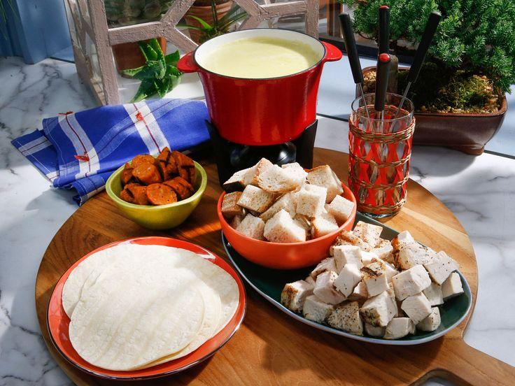 Poblano and Corn Queso Fundido (Fondue) recipe from Marcela Valladolid via Food Network