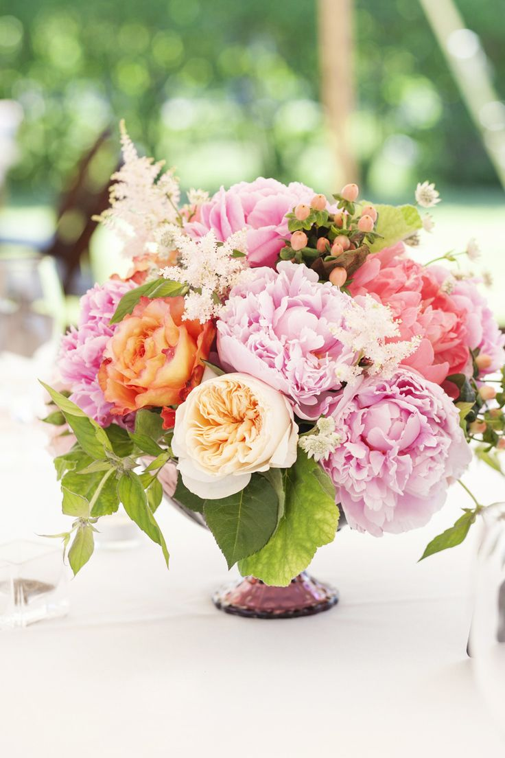 Peonies & Roses | Centerpiece on SMP: http://www.StyleMePretty.com/new-england-weddings/2014/03/12/tented-garden-wedding-in-westbrook-connecticut/ Photography: Tanya Salazar