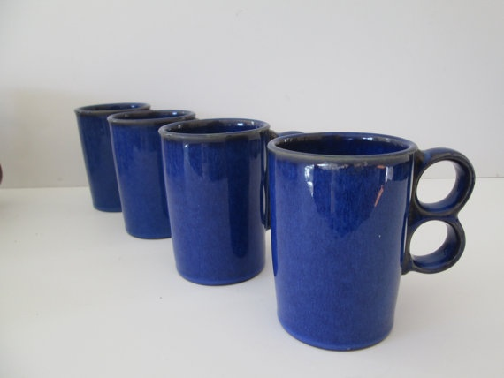 Cobalt Blue Coffee Mugs with Unique Handle  Set of by 1006Osage, $16.00