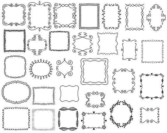 30 Doodle Frames Vector Pack Hand Drawn Doodle Clipart Hand Etsy Doodle Frames How To Draw Hands Drawing Frames