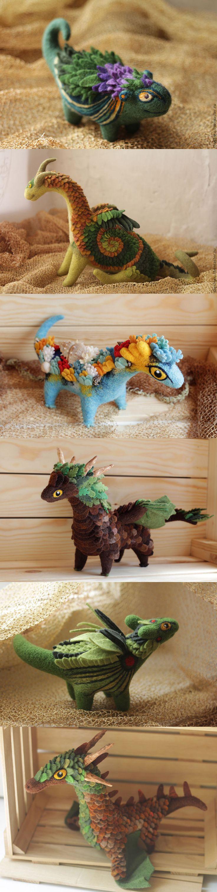 Unique felted dragons by Alyona Bobrova