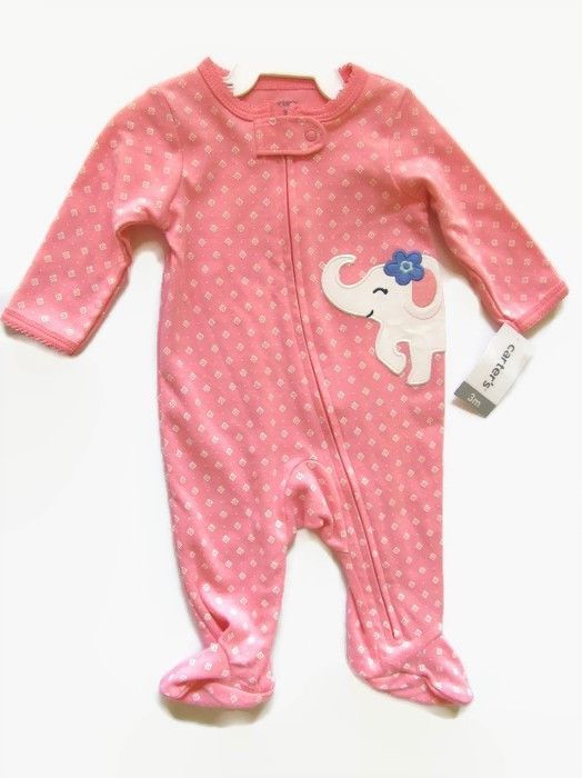 0b91ae0e8 Carters Girls One Piece Footed Sleeper 3 mos Pink Elephant Applique ...