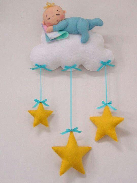 colgante: bebé, nube, estrellas