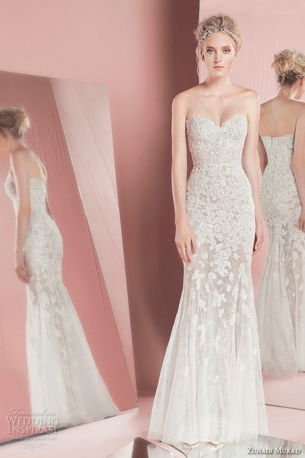 zuhair murad spring summer 2016 bridal strapless sweetheart neckline lace embroidery white sheath wedding dress petra