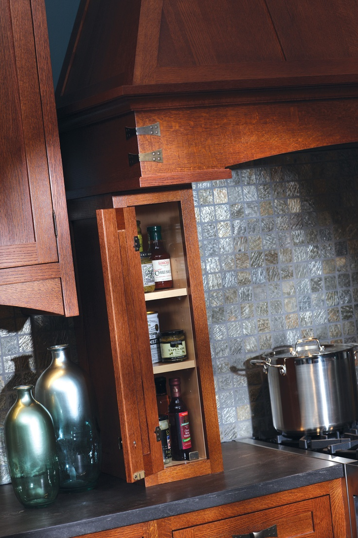 Signature pearl kitchen cabinets columbus oh semro designs 3 jpg - Crafty Storage A Small Storage Area Next To The Kitchen Hood Can Be Turned Into Practical Storage For Cooking Oils And Spices Dura Supreme Cabinetry