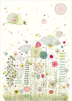 Try some watercolours and sharpie pens. Flower Print - Nature Wall Art for Kids - Amélie Biggs