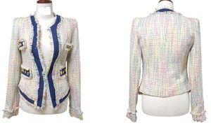 Взлетно-посадочная полоса, Chic белый кокос твидовый пиджак для XS, S