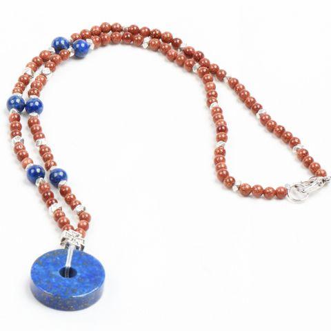 Купить Модный дизайн золотой песчаника бусины ожерелье с голубой ляписи другие товары категории Подвескив магазине Lucky Fox JewelryнаAliExpress. Подвески