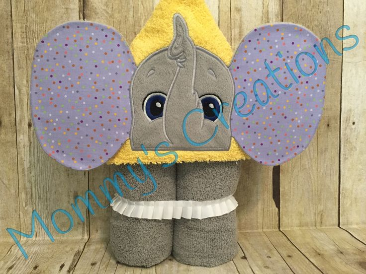 """Elephant Girl Applique Hooded Bath Towel, Beach Towel 30"""" x 54""""  Personalization Available by MommysCraftCreations on Etsy"""