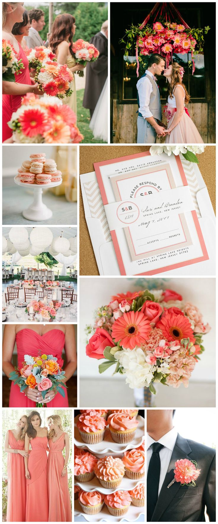 Wedding Inspiration in Coral - Modern Circle Logo Wedding Invitations
