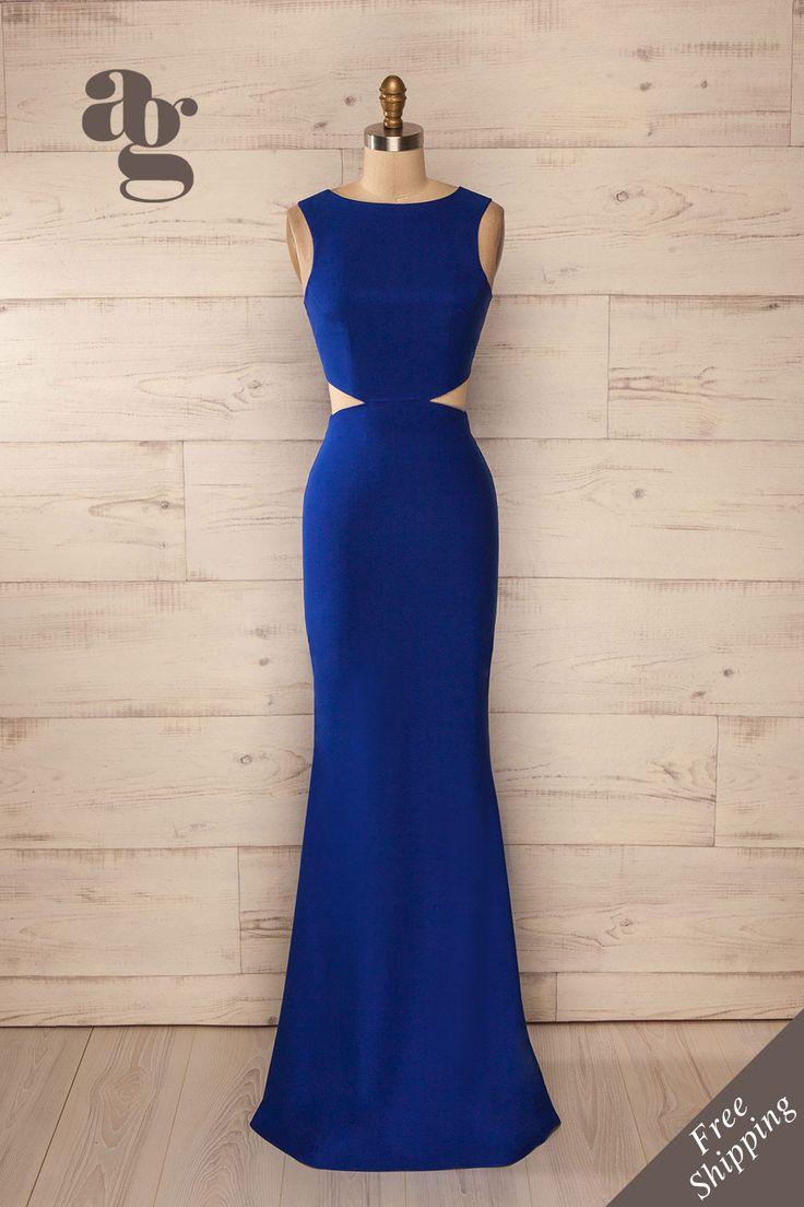 Robe longue soirée bleu royal découpes taille ajustée - Evening maxi fitted waist cut-outs solid deep blue dress