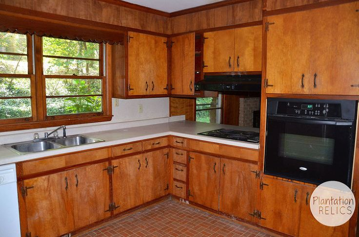 """Flip House 1960s Kitchen Before and After.  A Major Kitchen Renovation.  The 'before' view is my kitchen to a """"T,"""" - right down to the brick linoleum.   I want the 'after!'"""
