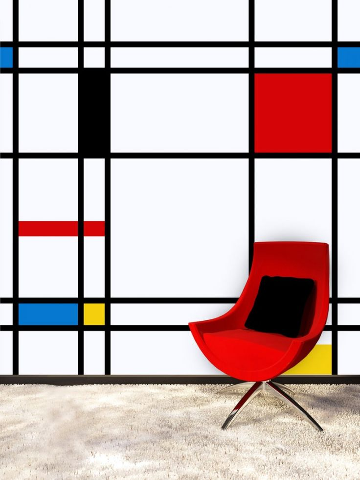 Geometric Wall Design from PIXERS - Want this painted on the wall of my art studio since I absolutely LOVE Piet Mondrian!