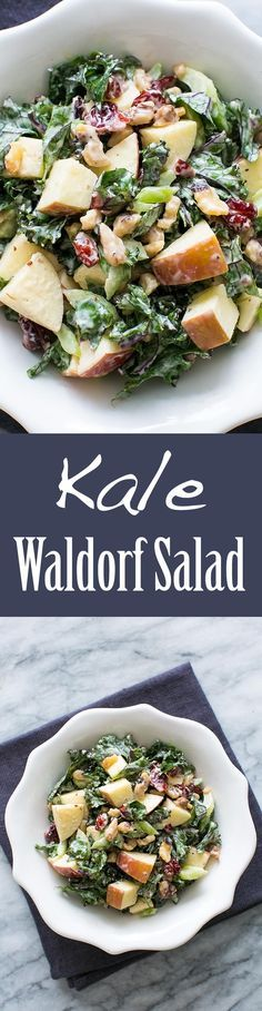 Kale Waldorf Salad  Kale Waldorf Salad  Best kale salad ever! A kale waldorf salad with apples celery walnuts dried cranberries and tangy mayo dressing  SimplyRecipes.com