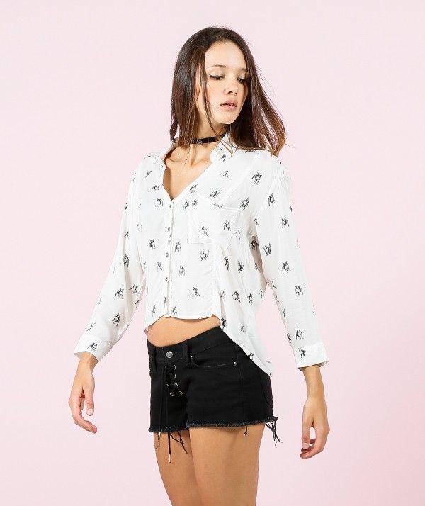 CAMISA MARFIL MINIPRINT - Camisas - Mujer