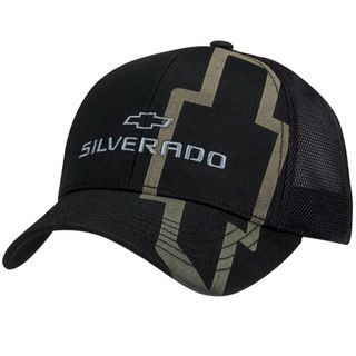 Chevy Silverado Black Twill & Mesh Hat made of cotton twill and mesh featuring laser engraved Silverado lettering and Bowtie emblem on the front crown and brim. Mesh Back Panels with an oversize verti