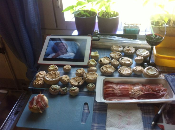 Here I was Making sundried tomato flavored creme bonjour cheese filled mushrooms that are wrapped with a bacon. 4 BBQ! 2014