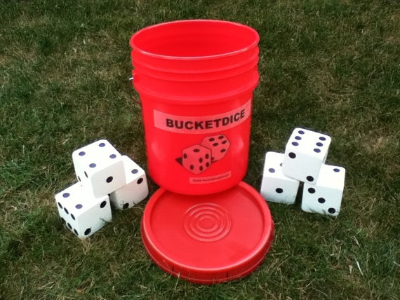 BucketDice Yard Game by Bucketdice on Etsy, $39.95- can make with our smaller buckets to play yahtzee outside. LOL.