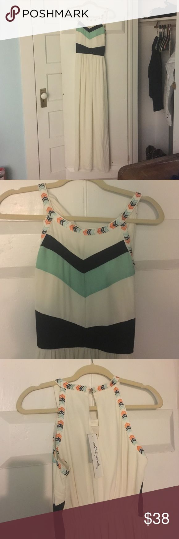 Buckle Ultra Pink Cream Chevron Maxi Dress Very cute cream colored dress with orange, navy, and teal accents. Perfect for summer or fall with a denim jacket. New with tags. Buckle Dresses Maxi