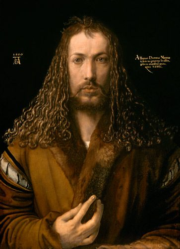 Albrecht Durer, early 1500, self portrait My favorite 16th century artist all the more interesting because of his almost photographic use of his own person as subject matter.