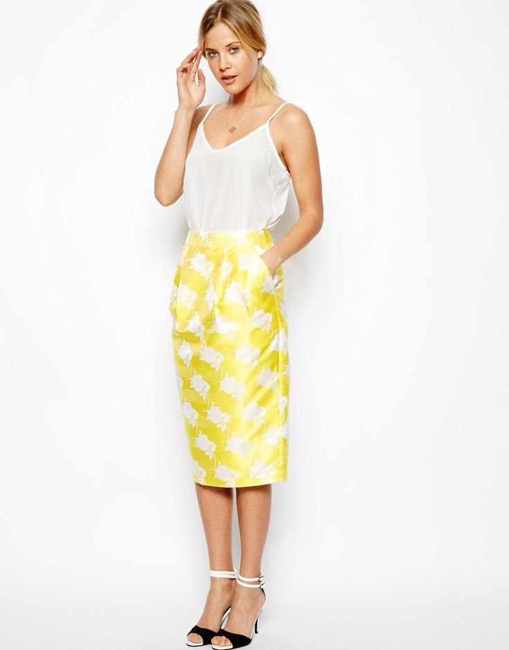 Jacquard Pencil Skirt: Floral Jacquard, Floral Skirts, Jacquard Pencil, Asos Premium, Yellow Skirts, Premium Floral, Pencil Skirts, Asos Floral, Floral Pencil