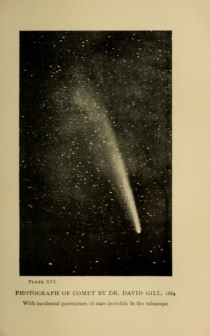 images about astronomical instruments library photograph of comet by dr david gill 1882 in the skies and the