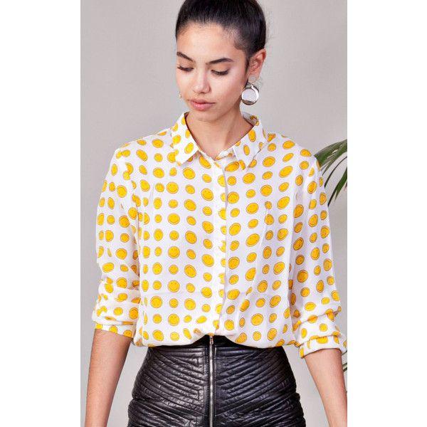 KLOZME Emoji Printed Shirt (£34) ❤ liked on Polyvore featuring tops, yellow, long shirt, yellow long sleeve top, long length shirts, long button shirt and shirt top