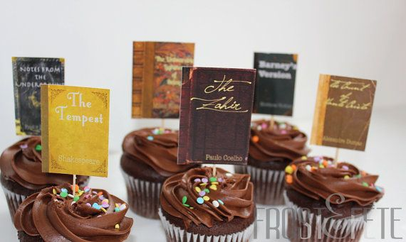 Literature lovers' book club cupcake toppers set by FrostandFete, $9.00