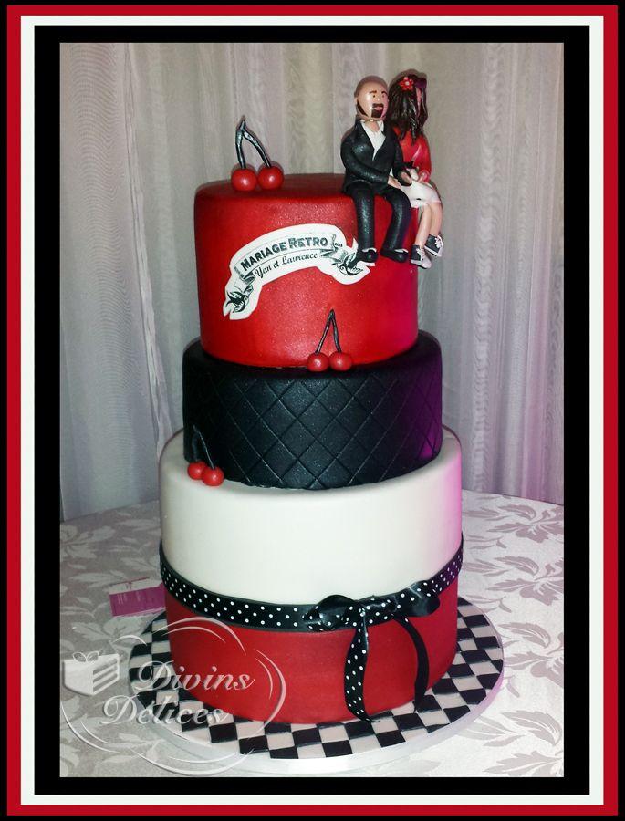 Gâteau de mariage Retro Rouge, noir et blanc Retro Wedding Cake Black ...