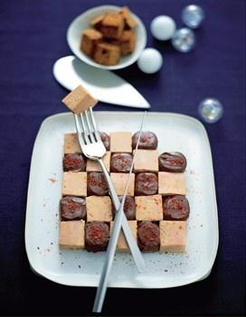 Echiquier foie-gras-chocolat au piment d'Espelette